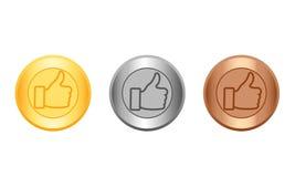 Medaillengold, -silber und -bronze Lizenzfreie Stockfotos