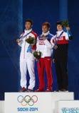 Medaillenzeremonie die 500m der kurzen Bahneisschnelllaufmänner Stockbild