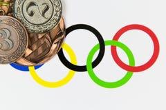 Medailles bij de Olympische Spelen stock afbeelding