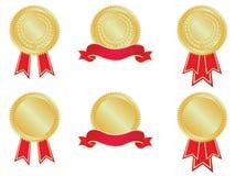 Medailles en banners Stock Afbeeldingen