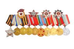 Medailles en orden van Grote Patriottische geïsoleerde oorlog Stock Foto's