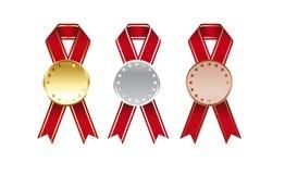 Medailles met drie kleuren Royalty-vrije Stock Foto