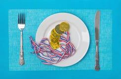 Medailles op een plaat Royalty-vrije Stock Foto's