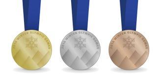 Medailles voor de Winterolympische spelen 2014 Stock Foto's