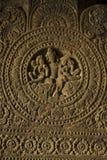 Medaillon auf Säule, Höhle 2, Aurangabad-Höhlen, Westgruppe, Aurangabad, Maharashtra, Indien stockbild