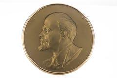 Medaillon mit sowjetischem Führer Vladimir Lenin Stockfotos
