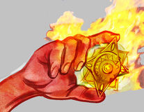 Medal advert concept. Hand hold fire medal (symbol) hot suvenire vector illustration
