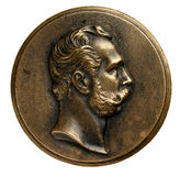Medal of Alexander II. Medal with bas-relief of russian king Alexander II Stock Photos
