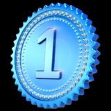 Medal award blue version first place winner isolated on black. Medal award blue version first place winner. Number one champion success icon. 3d illustration Stock Images