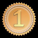 Medal award first place 1st winner golden. Number one icon. Medal award first place 1st winner golden. Number one champion success icon beautiful sparkling. 3d Stock Illustration