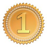Medal award golden first place winner. Number one champion. Achievement success icon beautiful sparkling. 3d illustration isolated Stock Image