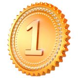 Medal award golden first place winner. Number one seal. Medal award golden first place winner. Number one champion success icon. 3d illustration isolated on Stock Photography