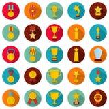 Medal award icon set, flat style. Medal award icon set. Flat illustration of 25 medal award vector icons circle isolated on white Stock Photography