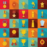 Medal award icon set, flat style royalty free stock images
