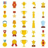 Medal award icon set isolated, flat style. Medal award icon set isolated. Flat illustration of 25 medal award vector icons for web Stock Photos