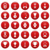 Medal award icon set vetor red. Medal award icon set. Simple illustration of 25 medal award vector icons red isolated Royalty Free Stock Image