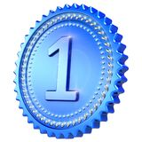 Medal award number 1 one winner blue first place icon. Medal award number 1 one winner blue. First 1st place champion win success icon sparkling. 3d illustration Stock Images