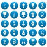 Medal award vector icons set blue, simple style. Medal award icons set blue. Simple illustration of 25 medal award vector icons for web Royalty Free Stock Images