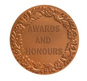Medal for awarding. Medal with ornament for awarding the winner as success achievement concept Royalty Free Stock Photos