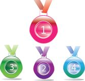 Medal awards for first, second and third place isolated on a color background. Medal awards for first, second and third Stock Image