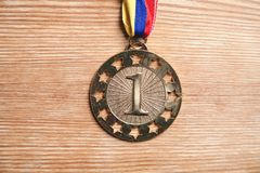 Medal awards for winner on wood background royalty free stock images