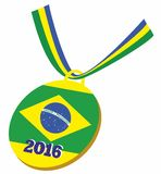 Medal with the Brazilian flag in 2016. Sport medal with the Brazilian flag in 2016 Royalty Free Stock Photo