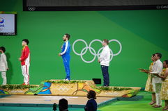 Medal ceremony of 85kg weight lifting at Rio2016 Royalty Free Stock Images