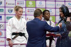 Medal ceremony in Women U63 of Judo World Masters 2017 Stock Photos