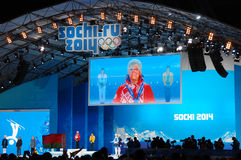 Medal ceremony at XXII Winter Olympic Games Royalty Free Stock Images