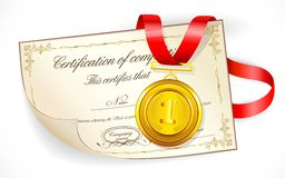 Medal on Certificate Stock Photos