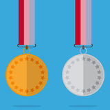 Medal With Color Ribbon And Shadow Royalty Free Stock Photo