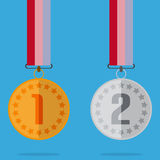 Medal With Color Ribbon And Shadow With Gold And Silver Royalty Free Stock Images