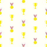 Medal cup seamless pattern. Gold medal and winner cup, seamless pattern in flat design style. Champion cups, golden medals and trophies template Stock Image