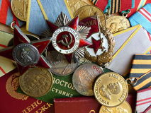 The medal `For the Defense of Stalingrad`, order of the `Red Star`, `The Great Patriotic War`, a sign of `Guards` and medals. Stock Images