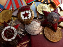 The medal `For the Defense of Stalingrad`, order of the `Red Star`, `The Great Patriotic War`, a sign of `Guards` and medals. Royalty Free Stock Photo