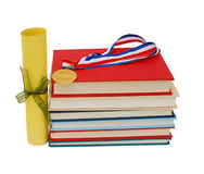Medal, diploma and books Stock Image