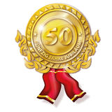 Medal fifty years anniversary. Golden medal fifty years anniversary Royalty Free Stock Photo