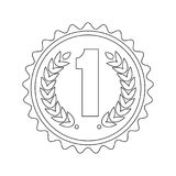 Medal first icon. Outline medal for the first place. Achievement concept. Signs and symbols of success, victory in competition. Business award and sports prize Royalty Free Stock Photos