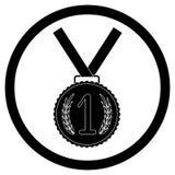Medal, first place black icon. Success achievement emblem for app or design. Vector illustration Stock Photos