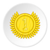 Medal for first place icon, cartoon style Royalty Free Stock Photo