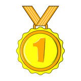 Medal for first place icon, cartoon style Royalty Free Stock Images