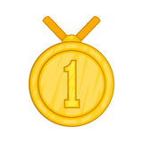 Medal for first place icon, cartoon style Stock Photos