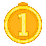Medal for first place icon, cartoon style Stock Image