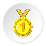 Medal for first place icon, cartoon style Stock Photo