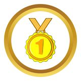 Medal for first place icon, cartoon style. Medal for first place icon in golden circle, cartoon style isolated on white background Royalty Free Illustration