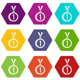Medal for first place icon set color hexahedron. Medal for first place icon set many color hexahedron isolated on white vector illustration Stock Image