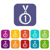 Medal for first place icons set. Vector illustration in flat style in colors red, blue, green, and other Stock Photo