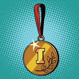 Medal for first place. Pop art retro style. The sports award. Business concept leader champion Royalty Free Stock Photography