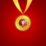 Medal first place on a red background Stock Photography