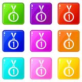 Medal for first place set 9. Medal for first place icons of 9 color set isolated vector illustration Stock Photos